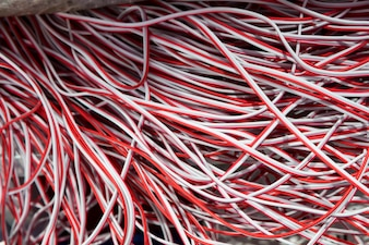 Red and white electric wire