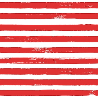 赤と白のグランジ抽象的な手描きの縞模様のシームレスなパターン。ブラシラインの赤い横縞と白い背景。インクイラスト。テキスタイル、壁紙、ラッピング用に印刷します。