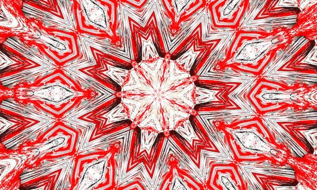 Красно-белая звезда калейдоскопа и крест с серыми светящимися краями.