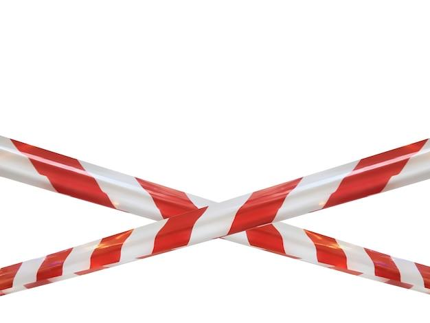 Красные и белые полосы перегородки препятствуют проходу. барьерная лента на белом изоляте. барьер, запрещающий движение. не входите в опасную зону, предупреждающую о небезопасной зоне. концепция без входа. копировать пространство
