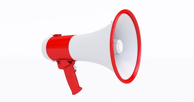 Красный и белый мегафон на белом, 3d-рендеринг мегафона