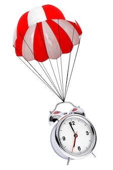 Красный и белый парашют с будильником на белом фоне. 3d рендеринг