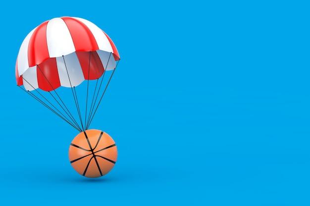 青の背景にバスケットボールボールと赤と白のパラシュート。 3dレンダリング