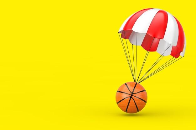 黄色の背景にバスケットボールボールと赤と白のパラシュート。 3dレンダリング