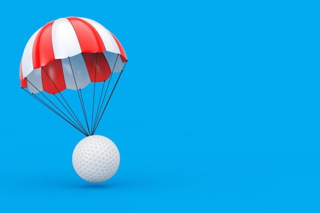 파란색 배경에 흰색 골프 공이 있는 빨간색과 흰색 낙하산. 3d 렌더링