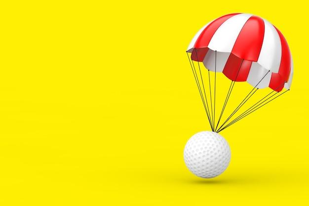 노란색 배경에 흰색 골프 공이 있는 빨간색과 흰색 낙하산. 3d 렌더링