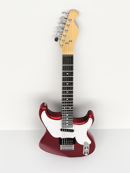 흰색 배경에 빨간색과 흰색 6현 일렉트릭 기타가 벽에 기대어 있습니다. 3d 렌더링.