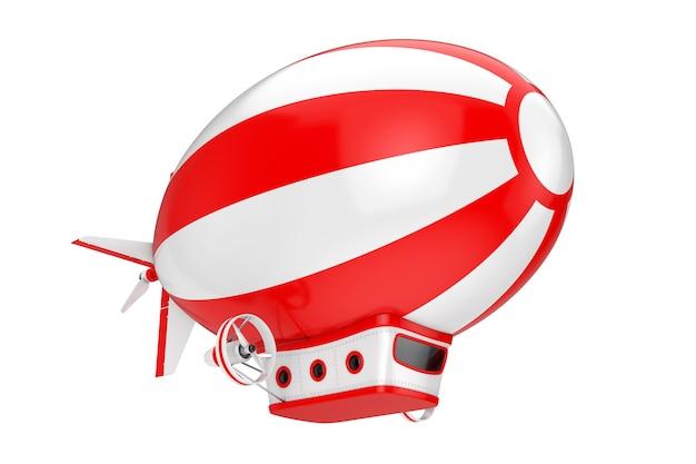 Красный и белый игрушечный мультяшный дирижабль дирижабль на белом фоне. 3d рендеринг