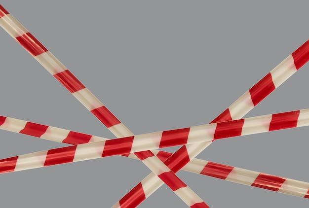 배리어 테이프의 빨간색과 흰색 경고 라인은 통과를 금지합니다. 회색 분리에 장벽 테이프. 교통을 금지하는 장벽. 위험 위험 지역 경고는 들어 가지 마십시오. 출입 금지 개념. 공간 복사