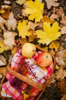 かごの中の赤と黄色のリンゴ