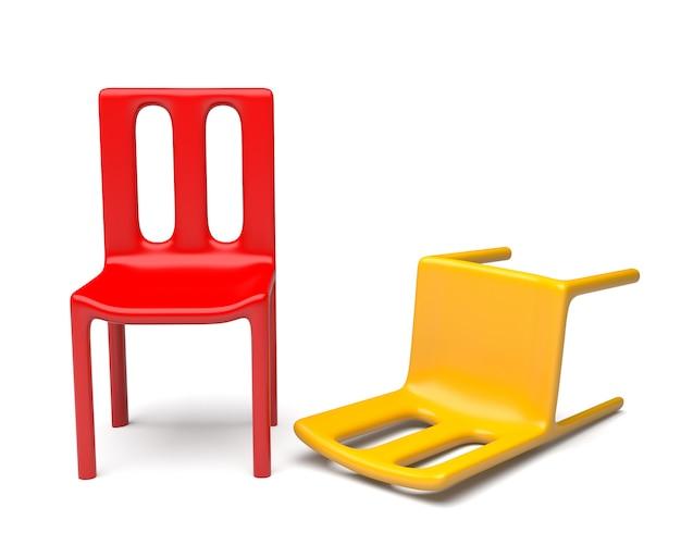 Красные и желтые стулья на белом фоне