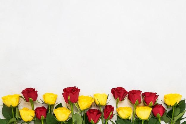 Граница красных и желтых роз
