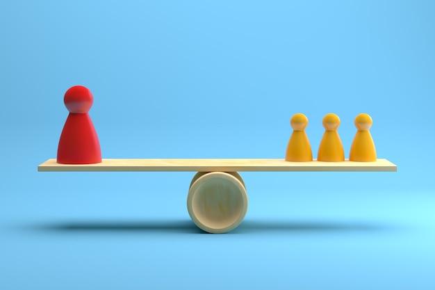 赤と黄色のチームポーンは、青い背景の上に木製のシーソーでバランスをとっています。 3dレンダリング