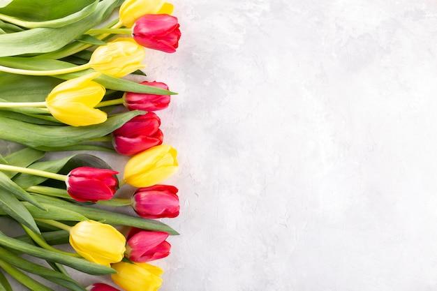 Красные и желтые тюльпаны Premium Фотографии