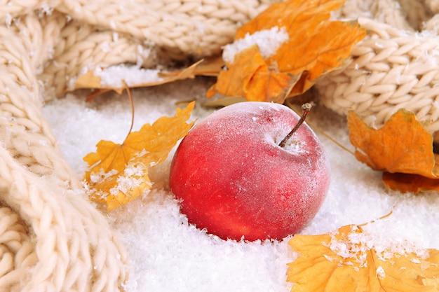 Красное яблоко в снегу крупным планом