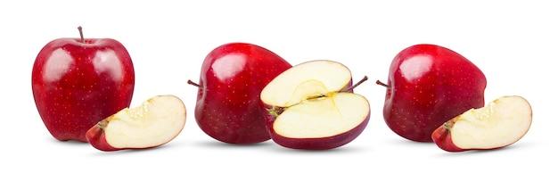 白い表面に分離された赤いリンゴ