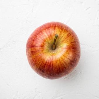 빨간 사과 세트, 흰색 돌 테이블 배경, 정사각형 형식, 평면도