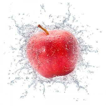 Red apple with water splash