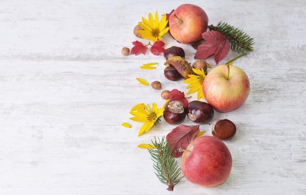 赤いリンゴ、白に葉を持つ茶色、黄色の花