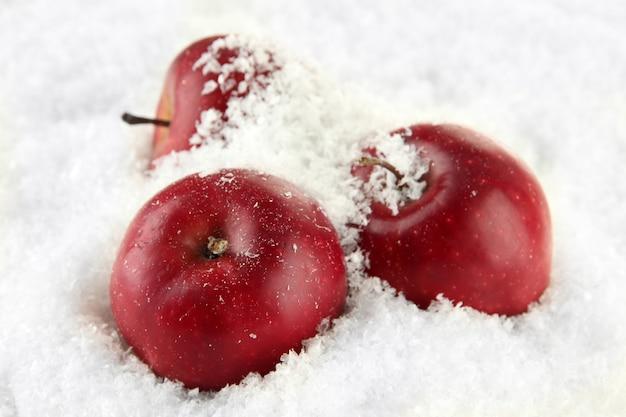 雪の中で赤いリンゴがクローズアップ