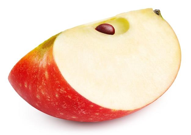白い表面に分離された赤いリンゴ。熟した新鮮なリンゴのクリッピングパス。高品質のマクロ写真