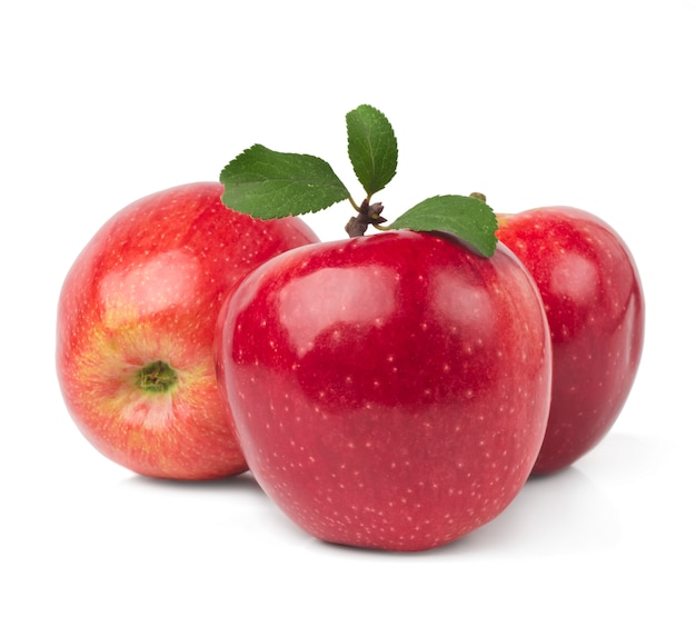 Red apples with leaves isolated