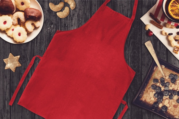 Red apron in a christmas scene