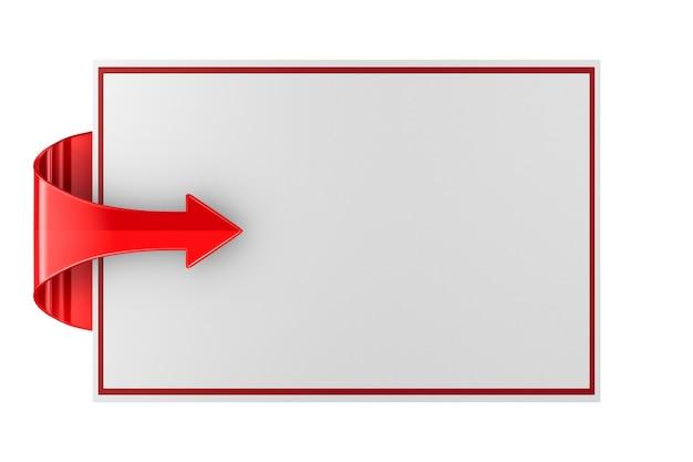 Красная стрелка и знамя на пустом пространстве. изолированные 3d иллюстрации