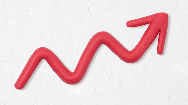 Trama di argilla freccia rossa che punta verso l'alto grafica artigianale per bambini