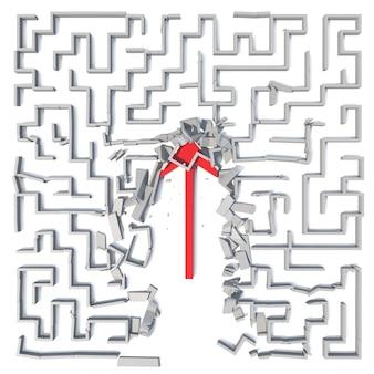 Red arrow cutting through maze.