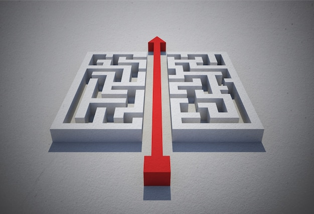 Red arrow cutting through puzzle