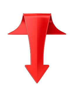Красная стрелка на белой поверхности. изолированные 3d иллюстрации