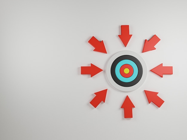 Red arrow shot towards the center of the dartboard on white background and copy space for concentrate in business target and objective concept, 3d render.