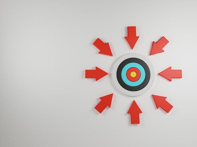 赤い矢印は白い背景のダーツボードの中心に向かって撃ち、ビジネスターゲットと客観的なコンセプト、3dレンダリングに集中するためのスペースをコピーします。