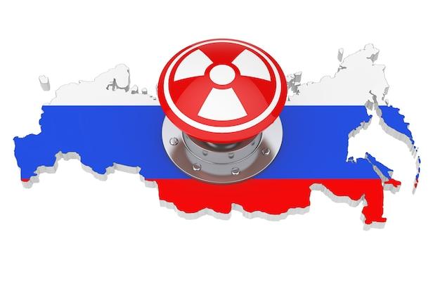 흰색 바탕에 플래그가 있는 러시아 지도 위에 방사선 기호가 있는 빨간색 원자 폭탄 발사 핵 버튼. 3d 렌더링
