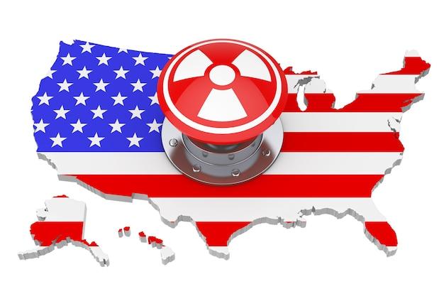 흰색 바탕에 플래그가 있는 미국 지도 위에 방사선 기호가 있는 빨간색 원자 폭탄 발사 핵 버튼. 3d 렌더링
