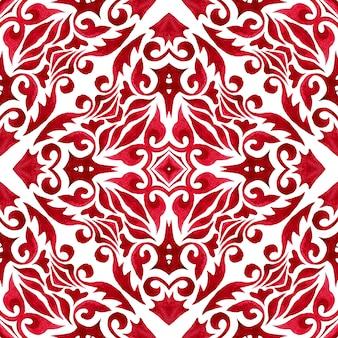 빨간색 배경 장식 손으로 그린 수채화 예술 장식 원활한 패턴 다 마스크