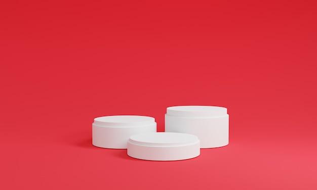 빨간색 배경입니다. 화장품 또는 다른 제품, 3d 렌더링에 대한 3 개의 흰색 연단 미니멀 모의 장면