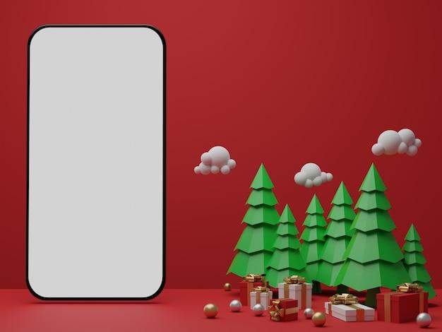 Красный фон с пустым белым экраном мобильного макета, подарочной коробкой и рождественскими елками