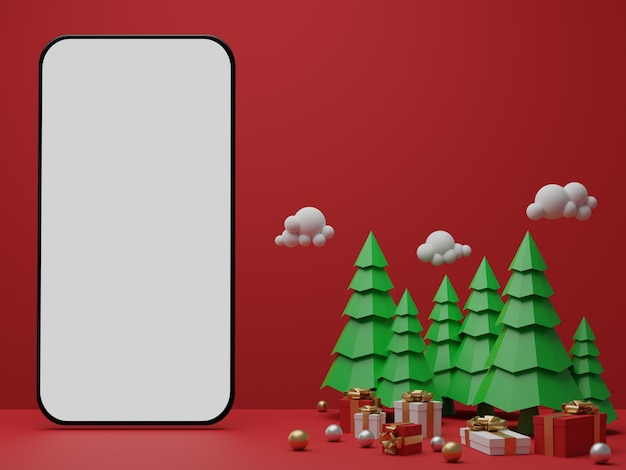 Red background with empty white screen mobile mockup, gift box and christmas trees