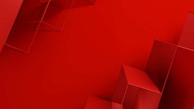 Red background with low poly mesh