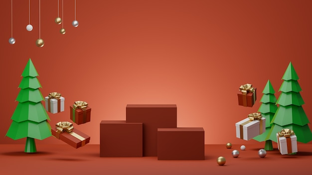 Red background with podium gift box and christmas trees for product d rendering
