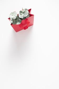 白い背景にユーカリの葉と赤いバッグ