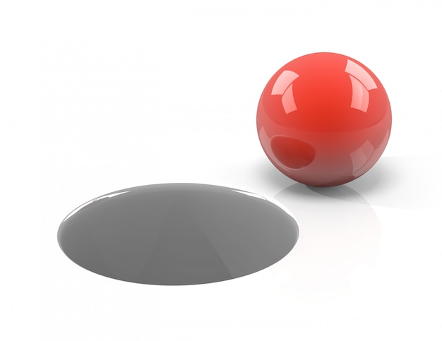 Red ball and hole