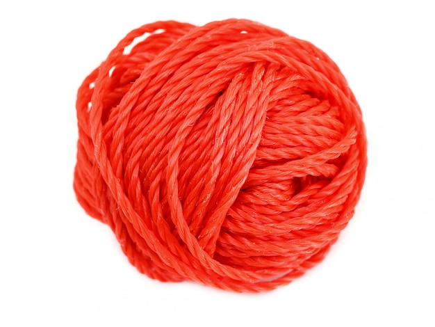 Red ball of yarn isolated