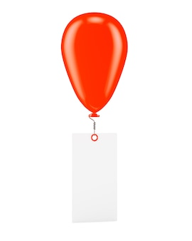 Red ballon with blank banner isolated on white