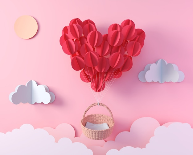 Red balloon in heart shape flying with empty basket, valentine's day origami paper art for display design, 3d rendering.