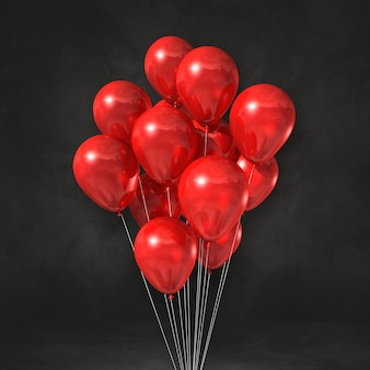 Red balloons bunch on a black wall background. 3d illustration render