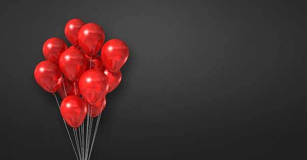 Red balloons bunch on a black wall background. horizontal banner. 3d illustration render
