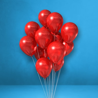 Red balloons bunch on a blue wall background. 3d illustration render